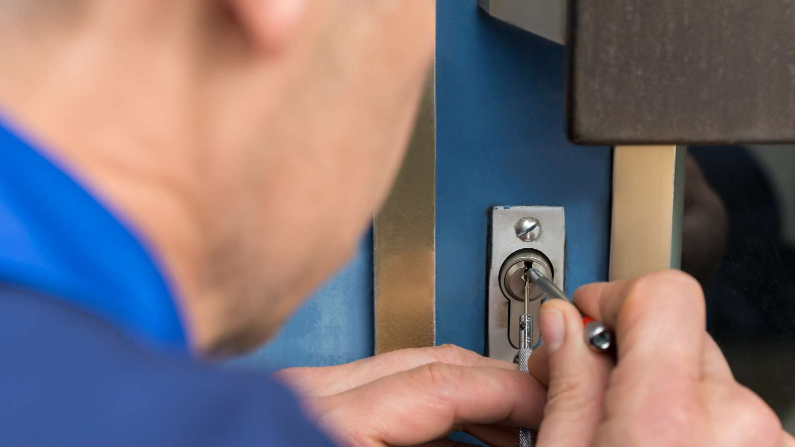 A man picking a lock